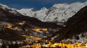 Night under Monte Rosa, Italy. Glimpse of Alps by night stock photography