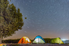 Night under the stars camping & camping royalty free stock images