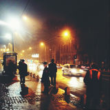 Night University square in Bucharest Royalty Free Stock Image