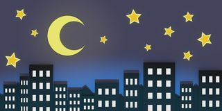 Night urban city landscape with stars and the moon in the sky 3D illustration panorama. Paper cut art style Stock Photography