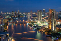 Night Urban City Skyline, Bangkok, Thailand Stock Photos