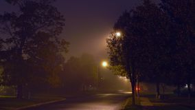 Night urban landscape with fog. And road night fog city stock video footage