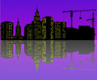 Night urban landscape with reflection Royalty Free Stock Image