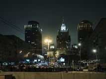 Night urban skyscraper architecture, lights, highway, traffic, streets royalty free stock photo