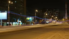 Night Urban Traffic. New Year Night Urban Traffic Time Lapse Shooting. Samara city stock video