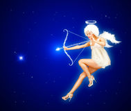 Night Valentine Angel. Cute St. Valentine's Day card with Angel flying in the night sky Stock Photography