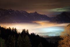 Night valley landscape clouds stock image