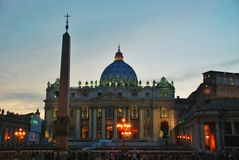 Night Vatican - St. Peters Basilica - Rome - Italy Stock Image