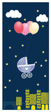 Night vector greeting card with Stroller Stock Image