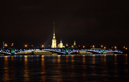 Night veiw of Saint Petersburg. Russia Stock Photos