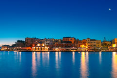 Night Venetian quay, Chania, Crete Stock Photos