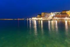 Night Venetian quay, Chania, Crete Royalty Free Stock Photos