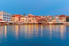Night Venetian quay, Chania, Crete Royalty Free Stock Image