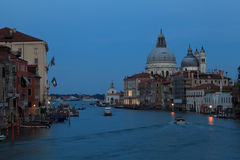 Night at Venice city. Grand canal in Venice. Italy Stock Images