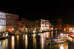 Night In Venice. This is a picture of a beautiful night in Venice with amazing lights stock photography
