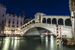 Night Venice. Rialto Bridge Stock Photos