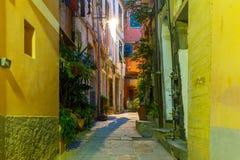 Night Vernazza, Cinque Terre, Liguria, Italy Stock Photo
