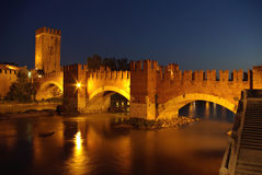 Night in Verona, Italy. The Ponte Scaligero and the Adige River in night, Verona, Italy Stock Image