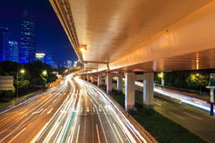 Night viaduct with light trails Royalty Free Stock Images