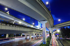 Night viaduct traffic Royalty Free Stock Photo