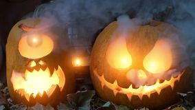Night video for Halloween. Two terrible pumpkins against dry leaves and an oil lamp with smoke in the evening. Video for Halloween. Two terrible pumpkins against stock video footage