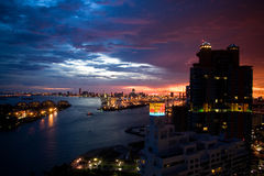 Night View. Miami Downtown and Port of Miami night views royalty free stock image