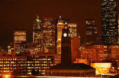 Night View. Of Seattle downtown with King Station Stock Image