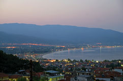 Night view. Of a small town Stavros - Greece Royalty Free Stock Photos