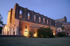 Night view of Abbey of St. Galgano by night. View of a the abandoned gothic abbey of San Galgano, one of the most beautiful spots in Tuscany Royalty Free Stock Photos