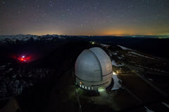 Night view from above to the large dome of the telescope of the special astrophysical observatory in the Arkhyz mountains Royalty Free Stock Photo