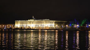 Night view of Academy of Arts in St.Petersburg Stock Photo