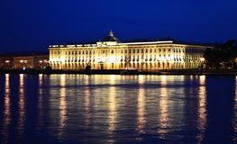 Night view of Academy of Arts in St.Petersburg Royalty Free Stock Images
