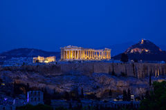 Night view of Acropolis, Athens Royalty Free Stock Photos