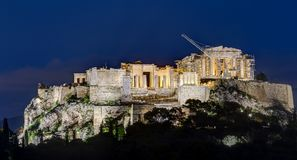 Night view of Acropolis, Athens, Greece Royalty Free Stock Photos