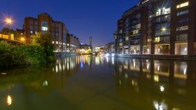 Night view across River Avon to Temple Bridge Bristol England Royalty Free Stock Image