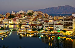 Night view of Aghios Nikolaos Stock Image