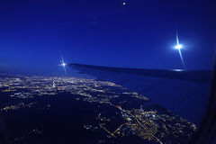 Night view from airplane Stock Photo