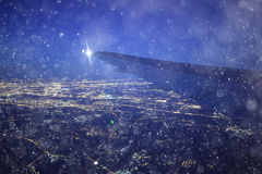 Night view from airplane Stock Photography