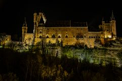 Night view of the Alcázar de Toledo. The Alcázar of Toledo Spanish: Alcázar de Toledo,  is a stone fortification located in the highest part of Toledo stock photography