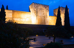 Night view of  Alcazaba at Alhambra Royalty Free Stock Image