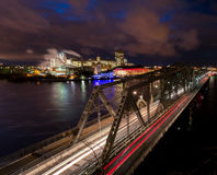 Night view Alexandria Bridge looking toward Gatineau, Quebec Stock Images