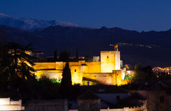 Night view of  Alhambra.  Granada Stock Photos