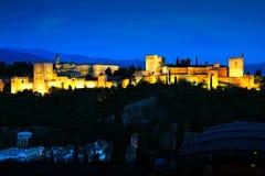 Night view of the Alhambra, Granada, Spain Stock Photo