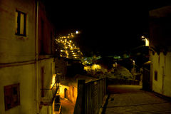 Night view of an alley of an ancient village Stock Photography