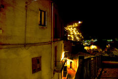 Night view of an alley of an ancient village Royalty Free Stock Images