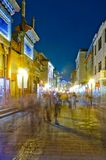 Night view of the alley on both sides of shops Royalty Free Stock Photo