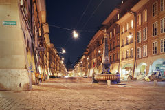 Night view on the alley Kramgasse at Bern Royalty Free Stock Photo