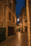 Night view of alley with lamp in Vence. Royalty Free Stock Photography