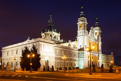 Night view of Almudena Cathedral Stock Photography