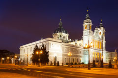 Night view of Almudena Cathedral. Madrid Stock Photos